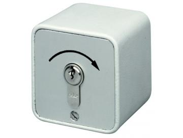 WTS - Standard -Schlüssel-Taster mit 1 Tast-Kontakt IMPULS  Alugehäuse, AP ,Wassergeschützt - Schutzart IP 54