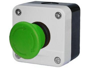 WTS - Einfach-Pilz-Drucktaster (grüner Pilz, tastend) IMPULS 1 Schließer Wassergeschützt - Schutzart IP 65