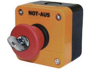 WTS - Einfach-NOT-HALT-Drucktaster (roter Pilz abschließbar)Wassergeschützt - Schutzart IP 65