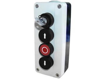 WTS - Dreifach-Drucktaster mit Schloss (abschließbar) AUF / STOP / AB, Wassergeschützt - Schutzart IP 65