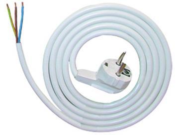 WTS - Netzkabel 3-adrig mit Schukostecker 2 m Weiss