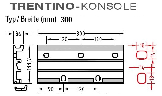 Wandkonsolen für Lewens  Trentino Markise , für Wandmontage