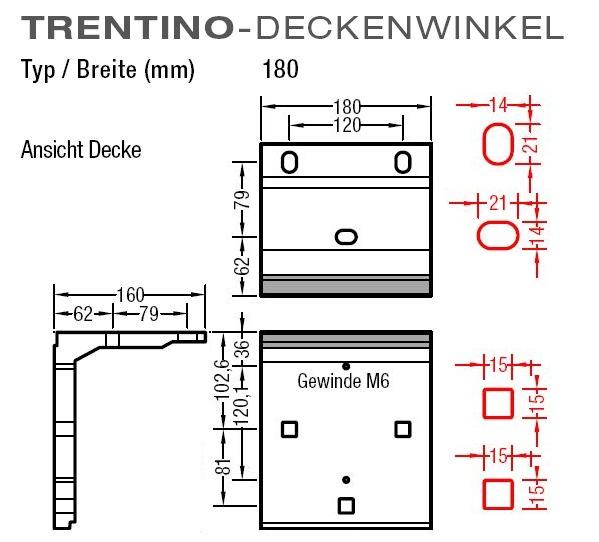 Deckenwinkel für LewensTrentinoGelenkarmmarkise an Deckenmontage