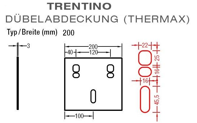 Dübelabdeckung-Thermax für Lewens Trentino  Gelenkarmmarkise für  Wand und Deckenkonsolen