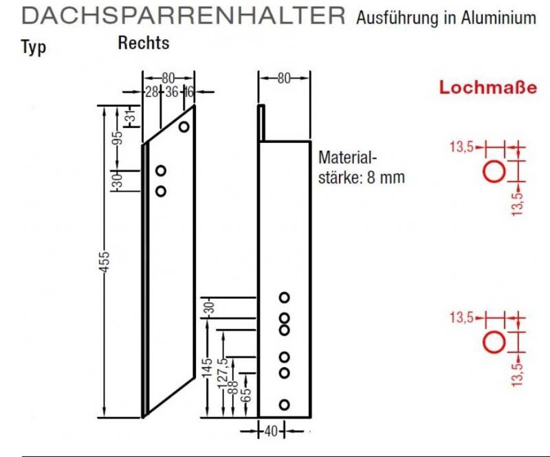Dachsparrenhalter für Universalkonsole Ausführung Alu